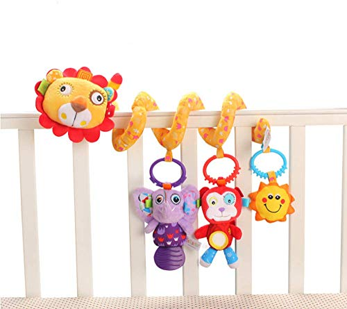 Wlolo Baby Pram Crib Activity Spiral Plush Toys & Stroller Toy & Car Seat Hanging Toys & Animal Education Plush Toys (Lion)