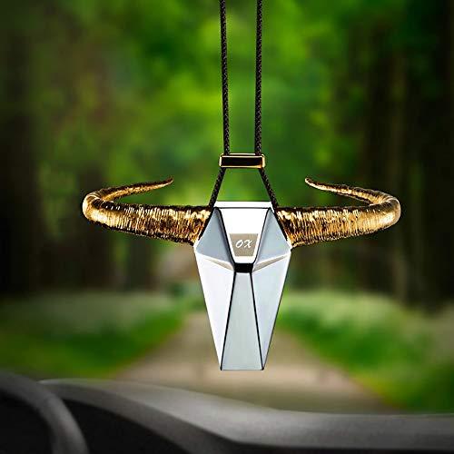 LOGGO Cuerno Decoración Espejo retrovisor automático Bull Colgando Automóviles Ornamento decoración de Interiores Accesorios del Coche de la aleación del cinc (Color Name : Rose Gold)