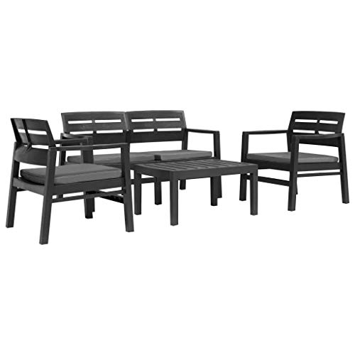 INLIFE 4 Piece Outdoor Lounge Set Plastic Anthracite
