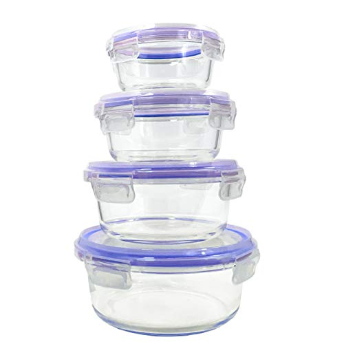 Home Fleek - Envases de Vidrio para Alimentos | 4 Recipientes + 4 Tapas | Herméticos | Sin BPA (Set 4, Circular Azul)