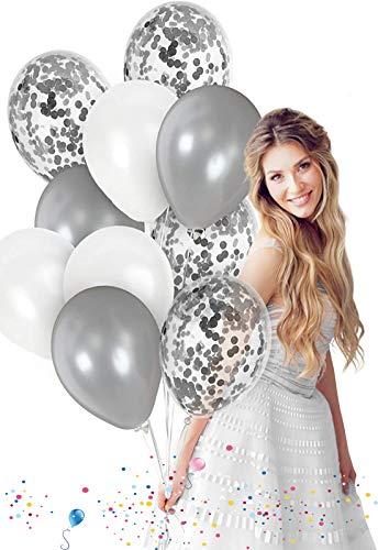 JIASHA Latex Ballon ,12 Zoll Luftballons Hochzeit,Konfetti Luftballons,Geburtstag Glitter Ballons,Party Ballons für Hochzeit Geburtstagsparty Babyparty Valentinstag Dekoration (Silber)