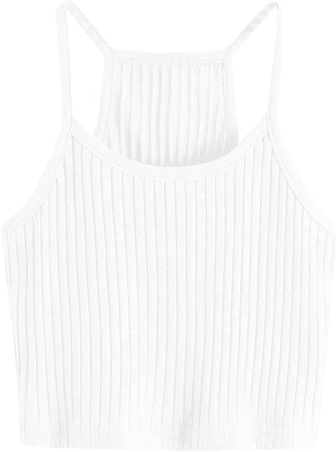SOLY HUX Girl's Spaghetti Strap Ribbed Knit Racerback Crop Cami Top