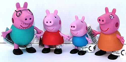 Comansi Play Set 4 Figuras Peppa Papa Mama George Pig Aproximadamente 5 - 7 cm
