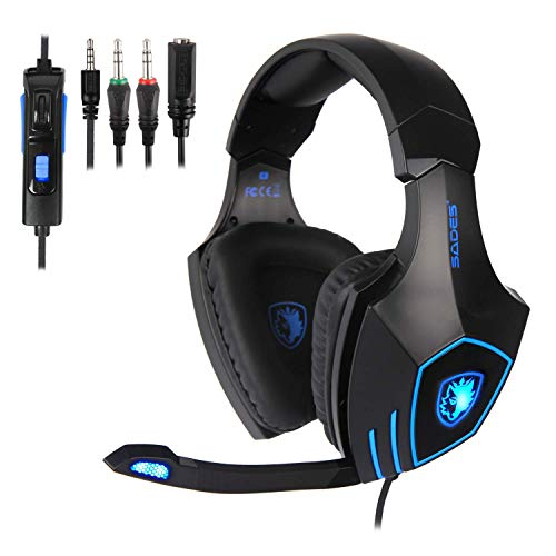 SADES Gaming Headset for New Xbox One, PS4, PC, Noise Reduction Game Earphone, Bass Surround Over-Ear Headphones 3.5MM Jack Headset for Xbox one Mac, Laptop, Computer and Phones