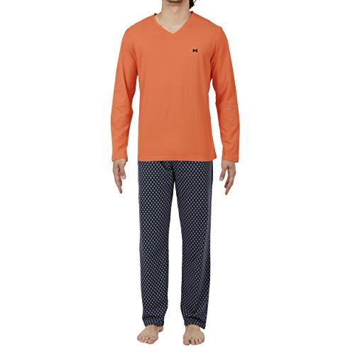 Hom Long Sleepwear Pigiama, Arancione (Haut: Orange Bas: Imprimé Étoile Fond Marine), Small Uomo