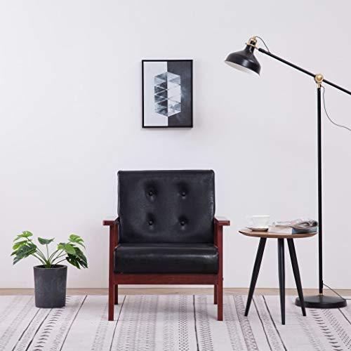 Tidyard Sessel Retro Design Französisch Lehnstuhl Relaxsessel Stuhl Polstersessel Armsessel Loungesessel Fernsehsessel Schwarz Kunstleder
