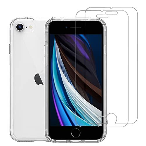 LAYJOY Funda iPhone 7/8/SE 2020 y 2-Pack Protector Pantalla Cristal Templado Vidrio Templado de 9H Dureza, HD Transparente Suave Silicona TPU Ligera Bumper Duro PC Case Cover Capa