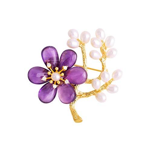 broche LF- Amatista Perlas de Gama Alta Retro Escudo Temperamento Elegante Rebeca del suéter decoración (Color : Purple, Size : 47 * 50mm)
