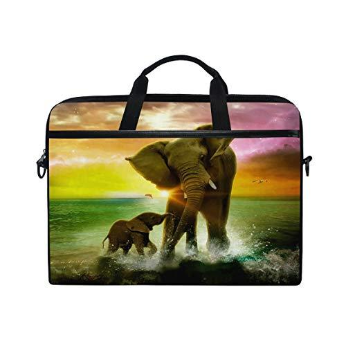 ALAZA Elephant Sea Sunset Galaxy 15 inch Laptop Case Shoulder Bag Crossbody Briefcase Messenger Sleeve for Women Men Girls Boys with Shoulder Strap Handle, for Her Him