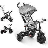 besrey Triciclo evolutivo 4 en 1 triciclos bebé Trike Bicicleta para Bebe Nino protección contra la Lluvia (1-6 año) - Gris