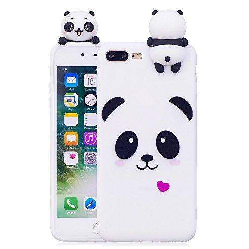LAPOPNUT 3D Cartoon Panda Case for iPhone 7 Plus iPhone 8 Plus Hülle Soft Back Cover Handyhülle Candy Farbe Lovely Panda Bear Design Slim Flexible Schutzhülle Bumper, White