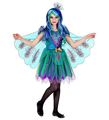 shoperama 2-teiliges Pfau Kinder-Kostüm für Mädchen Kleid Haarreifen Pfauenfeder Peacock Paradiesvogel, Größe:116 - 4 bis 5 Jahre