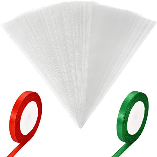 Leinuosen 100 Pieces Clear Cone Bags Transparent Cello Treat Bag Christmas Sweet Gift Bags with 2 Rolls Satin Ribbon for Christmas Party Gift Favor (Red and Green Ribbon)
