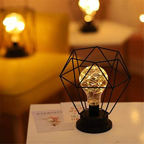 Lámpara de mesa LED de hierro retro, lámpara de mesa artística, para dormitorio, salón, lámpara de noche, lámpara de noche, luz de Navidad, decoración de luz