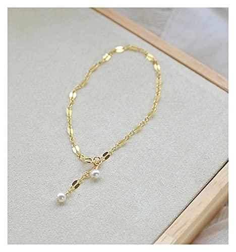 FKKLGNBDR Pulsera Pulseras de Cadena de Labios de Oro Real de 18K para Las Mujeres Enlace Delicado con Pulsera de Gota de Perla Blanca Durante 18 cm Pulseras de Mujer (Color : 18cm)