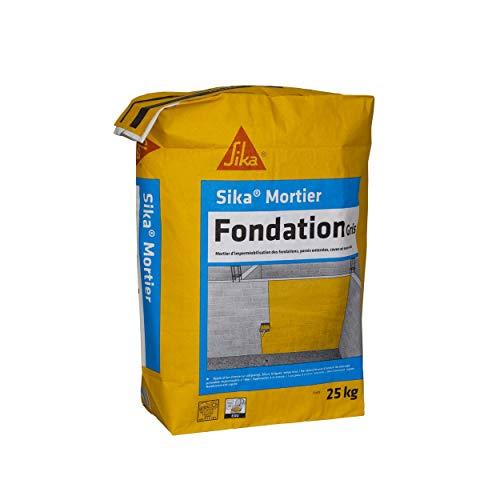 Sika Mortier Fondation, Enduit hydrofuge pour imperméabiliser les fondations et parois enterrées, 25kg, Gris ciment