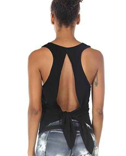 icyzone Damen Rückenfrei Yoga Tank Tops Ärmellos Workout Fitness Shirts (Black, M)