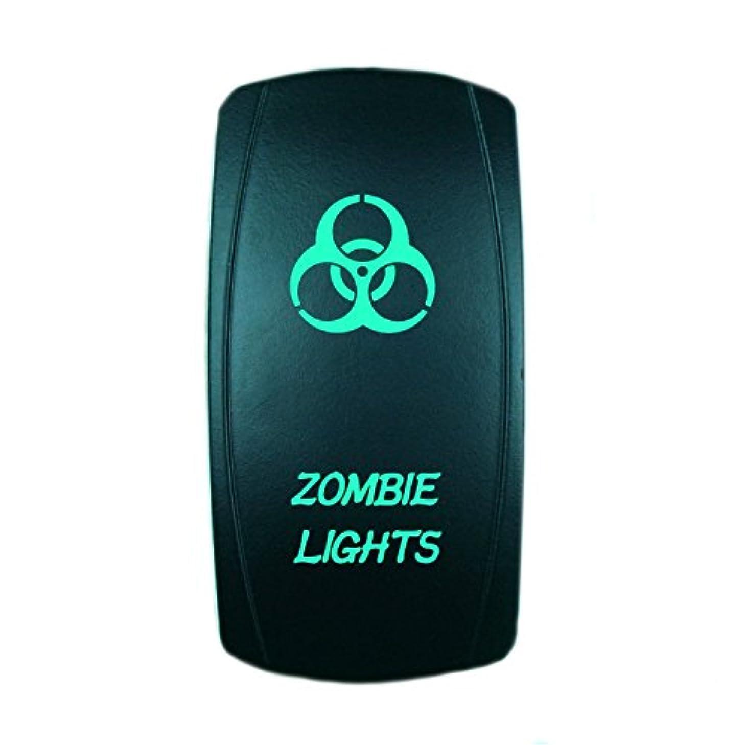 QUNQI STAR 5 pin Laser Backlit Rocker Switch ZOMBIE LIGHTS 20A 12V On/off LED Light Toggle Switch (Green)