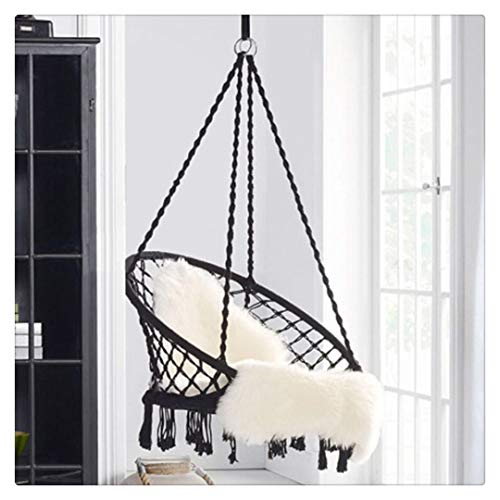 Kuhxz Hammock Chair with Hanging kit, Round Hanging Knitted Mesh Cotton Rope Macrame Swing, for Bedroom, Outdoors, Garden, Patio, Yard,Child, Girl, Adult (US Stock)