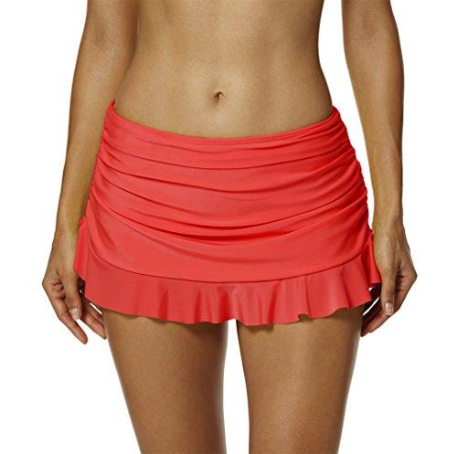 YoungSoul Shorts de baño para Mujer - Falda de Bikini con Detalle Fruncido - Trajes de baño con Falda incorporada