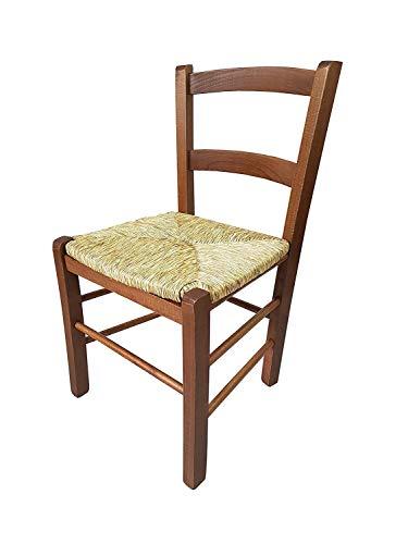 Sedia della Nonna Mezzana in Legno di faggio, Seduta Paglia, 71x33x39 cm