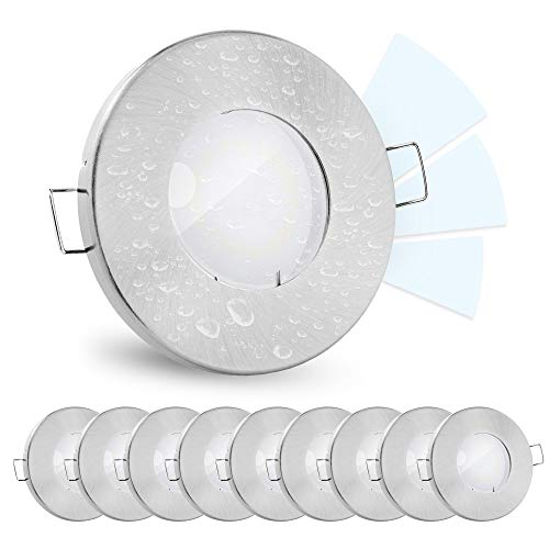 10 Stück linovum® fourSTEP Einbauleuchte LED Bad flach dimmen ohne Dimmer - LED GU10 5W neutralweiß 230V - Spot IP65 gebürstet