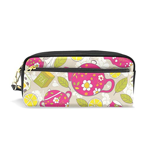 Potlood Case Leuke Kleurrijke Thee Citroenen met Bladeren PU Lederen Pen Bag Pouch Walle Make-up Cosmetische Tas van Studenten of Vrouwen