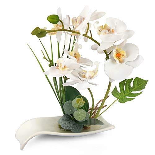 Yobansa Decorativi Real Touch Orchidea Finta Bonsai Fiori Artificiali con Imitazione Vasi da Fiori in Porcellana Phalaenopsis Composizione Floreale per la Decorazione Domestica (White)
