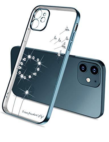 Carcasa compatible con iPhone 12 Mini de 5,4', carcasa transparente de silicona TPU flexible para iPhone 12 Mini, antigolpes, diseño de flores de mármol diamante, color azul
