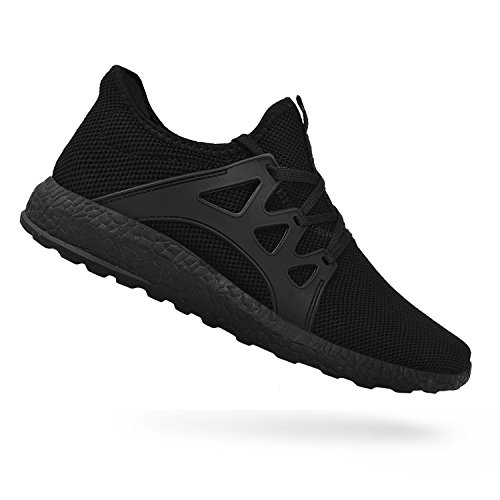 QANSI Men's Sneakers Mesh Ultra Breathable Lightweight Sports Running Shoes Black Size 13