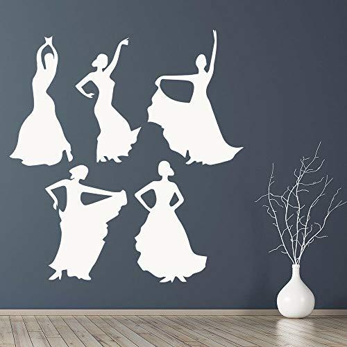 Conjunto de calcomanías de pared de baile español familiar, bailarina de flamenco, silueta de niñas, arte, puerta, ventana, pegatinas de vinilo, sala de estar, decoración del hogar, 74x79 cm