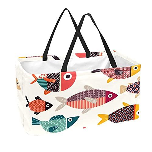 Bolsa de comestibles reutilizable grande, resistente bolsa de compras con parte inferior reforzada y asa (impresión de peces coloridos)