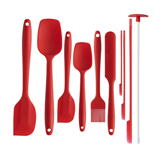 10 Pieces Silicone Spatulas Set Kitchen Utensils for Kitchen, Srmsvyd 480F Heat Resistant Rubber Spatulas for Baking, Cooking, and Mixing Easy Washing Non Stick & Dishwasher Safe BPA-Free.(Red)