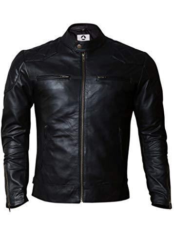 Men's Genuine Lambskin Motorcycle Leather Jacket Black | Distressed Brown Vintage Biker Leather Jackets for Men (Black, X-Large (Body Chest 44' to 46'))