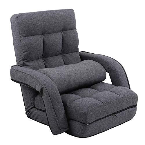 KYODA 座椅子 ひじ掛け付き クッション付き リクライニング 42段階調節 3way ハイバック ふあふあ 脚置き フロアチェア 折りたたみ可能 幅約50cm グレー 08D