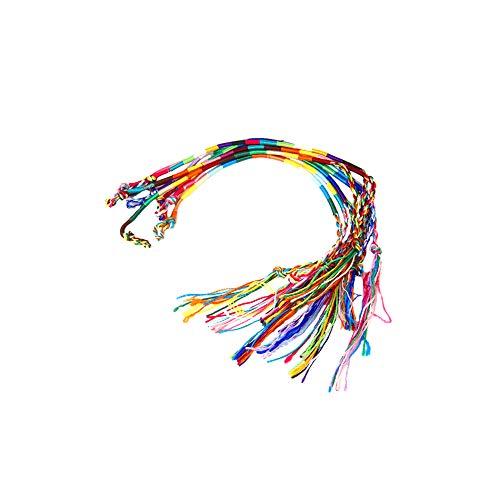 Nicetruc Pulseras Trenzadas Hechas a Mano Pulseras de la Amistad Tejida de Hilo de Colores Wrap Cuerdas de Pulsera Tobillera Pulsera 9Pcs (Color al Azar)