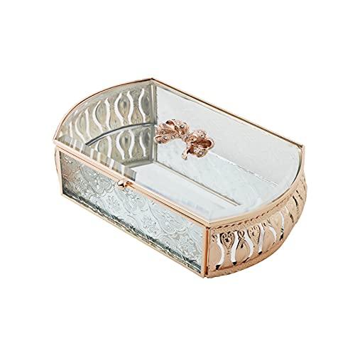 OMYLFQ Caja de joyería Retro Europea de joyería Creativa de joyería de Vidrio de joyería aretes Pendientes de Escritorio Mostrar artesanía contenedores, Regalo para Mujeres (Size : F)