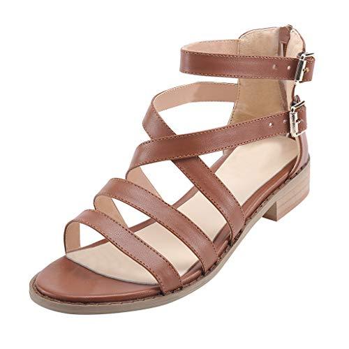 Sandales Compensées Femme,Honestyi Chaussures Bouche de Poisson Escarpins Talon Epais Sandales Boucle Chaussures Bout Ouvert Dame Shoes Facile à Assortir Tongs