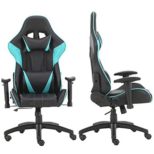 Oficina/estudio/silla de juego/silla de escritorio, silla giratoria de altura ajustable Material PU 4 opciones de color (azul)