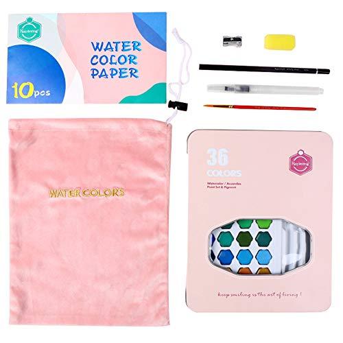 36 kleuren poeder pigment massief aquarel kinderen studenten kunstenaar penseel pen verven - zwart roze
