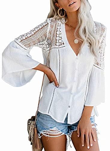 Tekaopuer Camisetas de manga larga para mujer, blusa de ganchillo casual, camisa de gasa con cuello en V, manga acampanada, blusa de gasa suelta, túnica, A blanco., S
