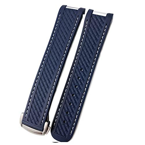 FAAGFC Correa de reloj para Omega SeAMASTER 300 AT150 DE VILLE SPEEDMASTER Correa de reloj de silicona suave Accesorios de reloj Pulsera (color de la correa: línea azul blanca, tamaño: 20 mm sin