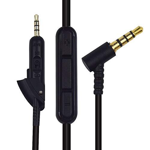 Sqrmueki マイクとボリュームコントロールでオーディオの延長コード兼容Bose QuietComfort 15 QC15 QC2 ヘッドホン
