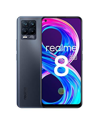 "realme 8 Pro Smartphone Libre, Cámara cuádruple Ultra de 108 MP, Pantalla completa AMOLED superior de 6,4"", Carga SuperDart de 50W, Batería de 4500 mAh, Dual Sim, NFC, 8+128GB, Infinite Black"