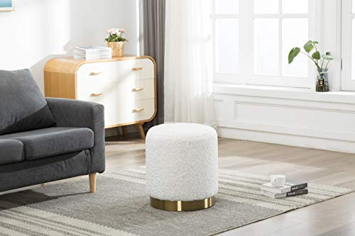 DM Furniture Round Ottoman Wool Curl Style Foot Rest Upholstered Ottoman with Gold Stainless Steel Base for Living Room Bedroom Home Decor