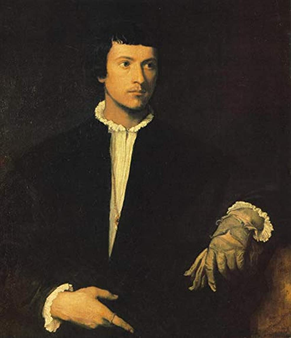精神退却一緒手書き-キャンバスの油絵 - 美術大学の先生直筆 - Man with Gloves Tiziano Titian 絵画 洋画 複製画 ウォールアートデコレーション -サイズ15
