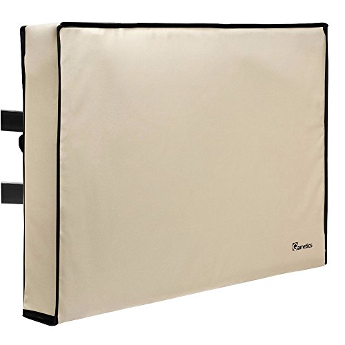 Outdoor TV Cover 60'-65' inch - Universal Weatherproof Protector for Flat Screen TVs - Fits Most TV Mounts and Stands - Beige