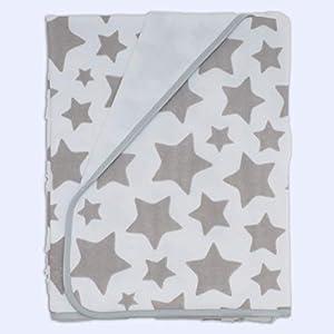 Ti-TIN Arrullo para Bebé de Doble capa de Punto Suave y Absorbente | Saco de Punto Bebé, 100% Algodón con Doble Tejido Interlock 2x180gr/m², Multifuncional, Estampado Gris Estrellas Grandes, 80x80cm