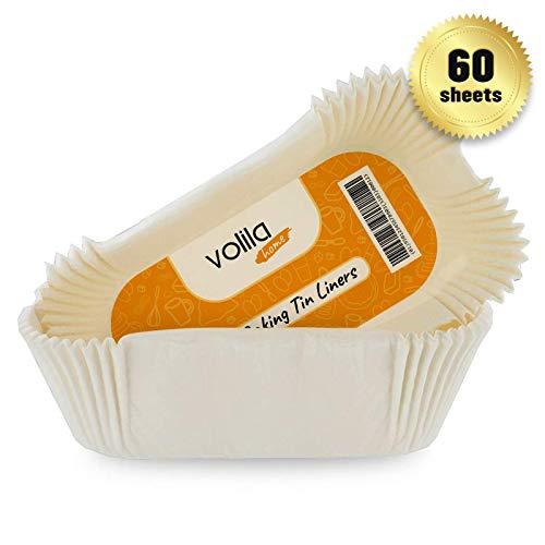 Backpapier in Kastenform für Backen und Kochen, antihaftbeschichtetes Brot Papier Backform mit geraden Kanten, Einwegbackformen (19cm x 9cm x 6,5cm) (60er-Packung)