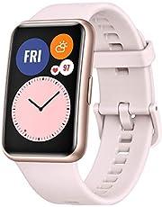 """HUAWEI WATCH FIT Smartwatch med nätt design, 1.64"""" AMOLED Display, 10 Dagars Batteritid, 96 Träningslägen, Inbyggd GPS, 5ATM Vattentålig, SpO2-mätning dygnet runt, Pulsmätning, Sömnövervakning, Rosa"""
